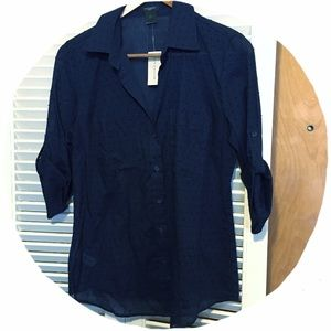 Ann Taylor Tops - NWT! Ann Taylor Navy Dotted Oxford
