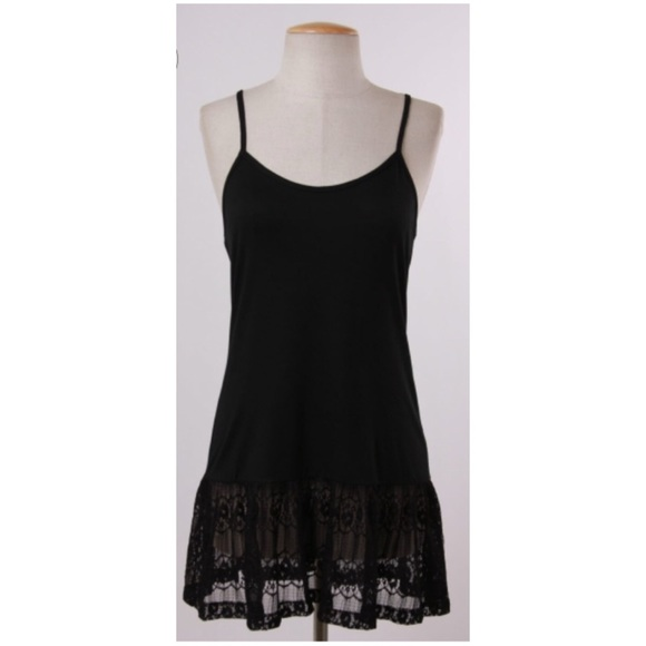 Tops sold cami jersey top extender w lace black