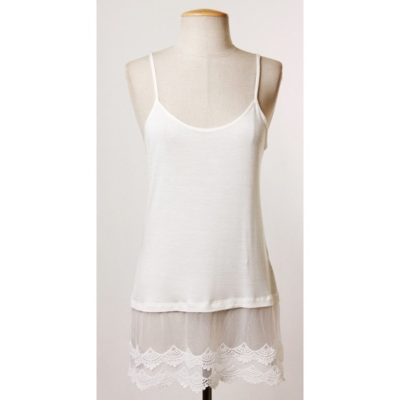Top extender lace in ivory nwt knit cami slip top extender with lace