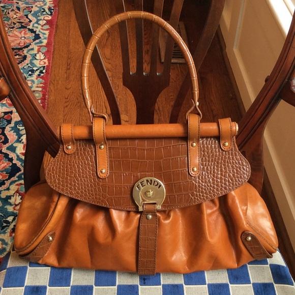 d5616fded4 fendi handbags online - 63% off FENDI Handbags - Fendi cognac  leather embossed croc