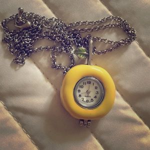 Forever 21 yellow fruit clock necklace