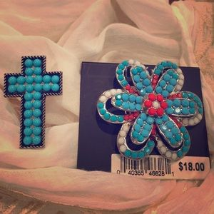 Jewelry - Turquoise ring set of two/cross and flower