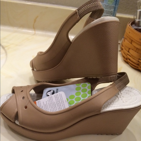 cb13cfa2efa2 Crocs Nude Wedge Sandal Never Worn
