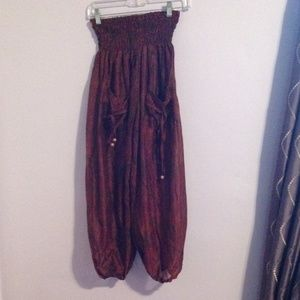 Pants - Red sheer silk harem pants from India