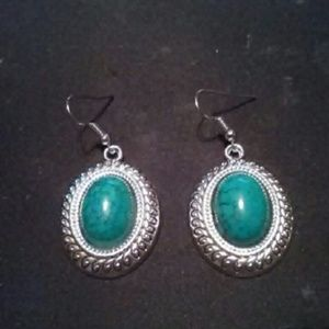 Jewelry - Tibetan Silver and Green Turquoise Earrings NWOT