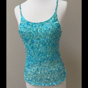 Ariella Tops - Turquoise blue sequin camisole cami tank top
