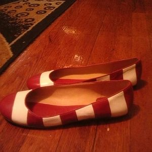 Kate Spade Red and white stripe flats.
