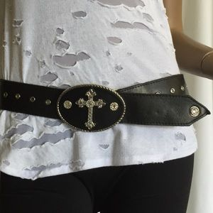 Black Leather Belt, Swarovski Crystal Cross sz 32