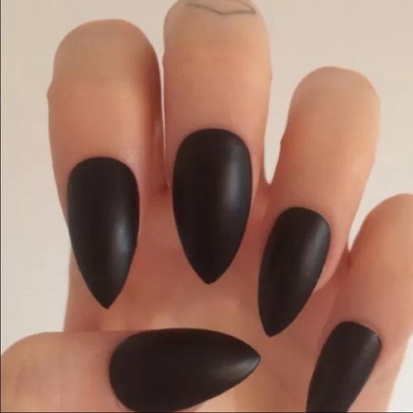 Matte Black Stiletto Nails Chic | Poshmark
