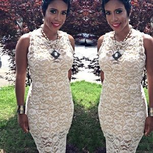 Lace Khaki/Beige Knee Length Dress