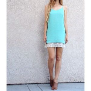 | new | lace trim shift dress