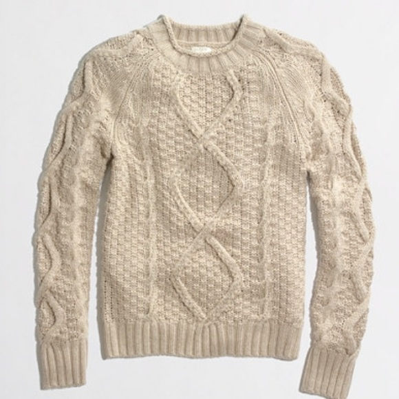 J. Crew - J crew beaded cable knit sweater tan xs -reserved from ...