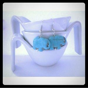 Handmade Turquoise Elephant Earrings