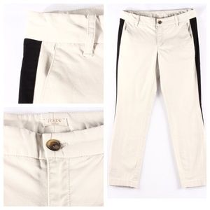 J.crew Khaki Pants with Black Tuxedo Stripe