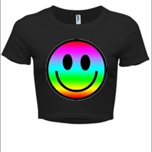 Rainbow smiley face crop top