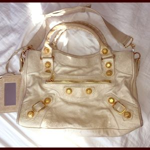 AUTH Beige Balenciaga Giant City Bag Gold Hardware