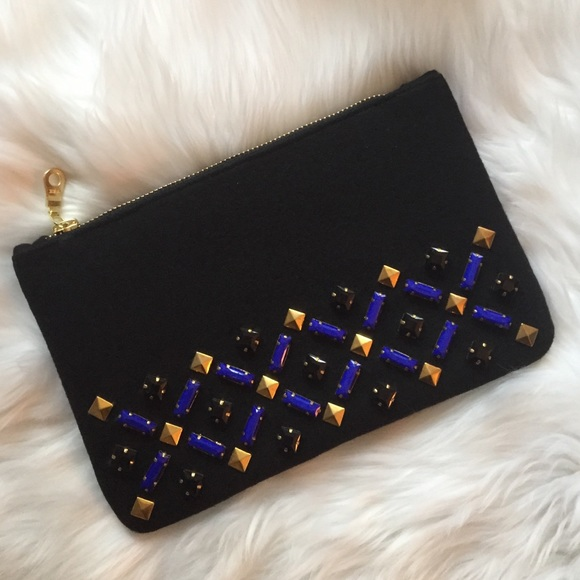 Embellished Wool Clutch