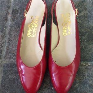 Salvatore Ferragamo Shoes - Salvatore Ferragamo Red Sling Back sz 7 1/2