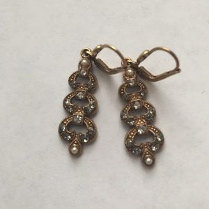 Crystal and pearl antique inspired earrings