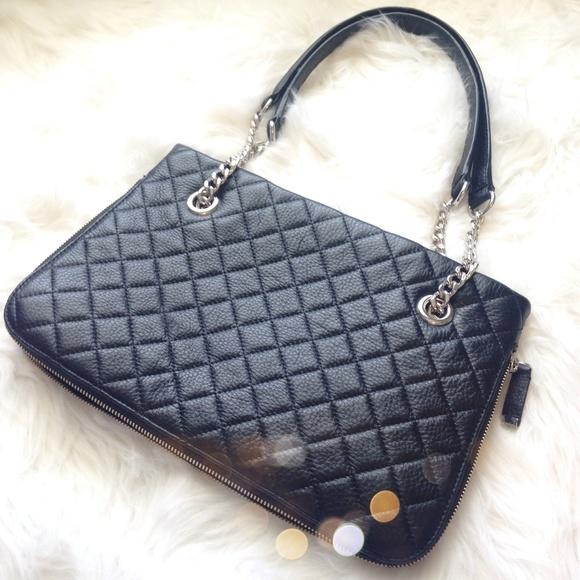 60% off Calvin Klein Handbags - Calvin Klein Black Quilted Zipper ... : calvin klein quilted handbag - Adamdwight.com