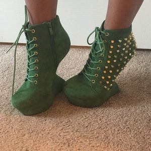 Green Gold Studded Heels