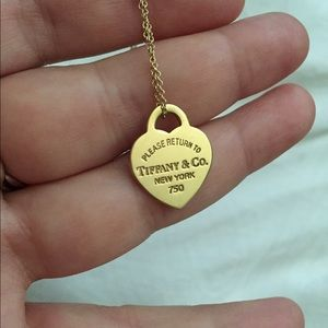 5ca5393851ec Tiffany   Co. Jewelry - Small Return to Tiffany gold pendant and chain