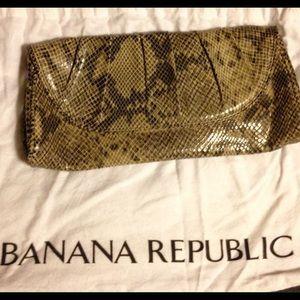 Banana Republic Snakeskin Embossed Tan Clutch