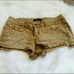 Pac Sun Klique B Leopard Print Denim Shorts