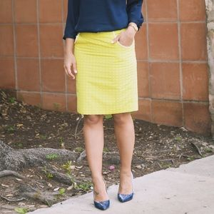 The Limited Dresses & Skirts - Yellow & White Polka Dot Pencil Skirt