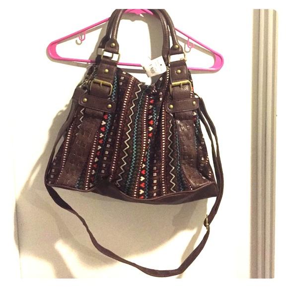 Macy S Bags Aztec Print Crossbody Small Duffle Bag