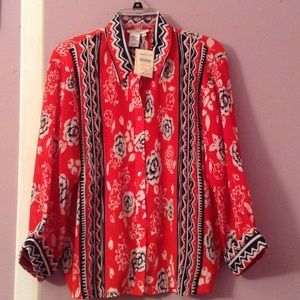 Coldwater Creek crinkle blouse size large NWT
