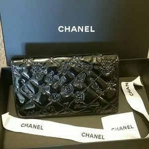 Authentic Chanel Black patent mademoiselle wallet