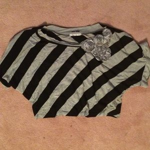 Equipe Tops - Beautiful Striped Crop Top With Black & Grey Roses