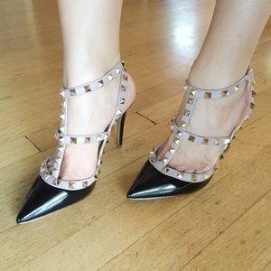 Valentino Style Black Rockstud Heels