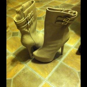 Nude High Heel Boots size 8.5