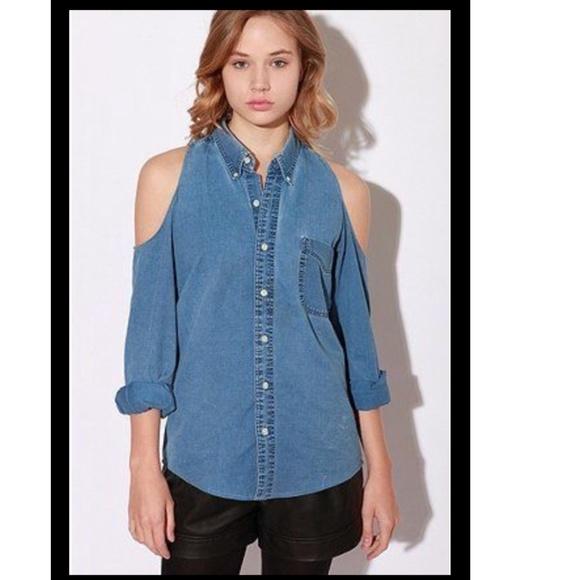 Cold Shoulder Denim Shirt for Women