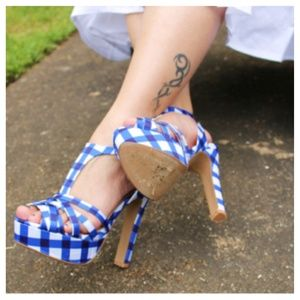 Shoes - Blue & White Gingham Heels