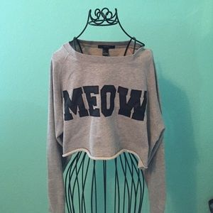 """MEOW"" Faux Leather Crop Top"