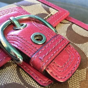 Leather and Canvas Coach Buckle Wallet