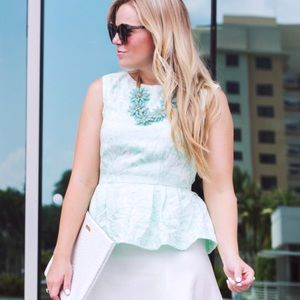 Tops - Printed Mint Peplum Top