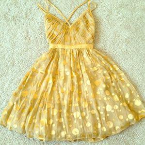 Arden B Dresses & Skirts - Arden B Gold Polkadot Silk Dress Cocktail