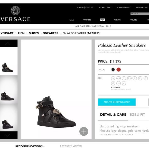 cb40578e Versace Palazzo Leather Sneakers (Black High Tops)