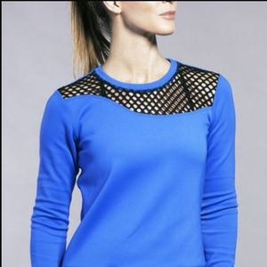 Alala Tops - Alala Sidezip Neoprene Sweatshirt (Cobalt Blue)