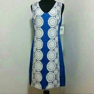 Muse Dresses & Skirts - Muse Crochet Satin Shift Dress !