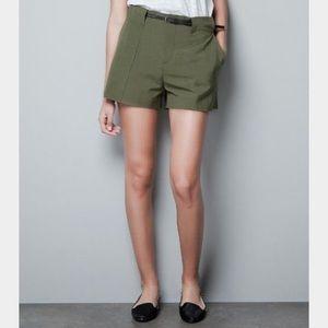 Zara Pants - Zara Green Cargo High Waist Shorts