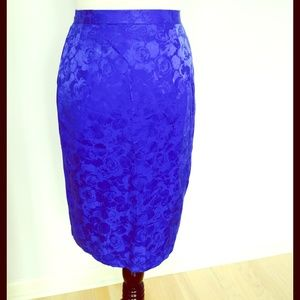 Vintage silk blue floral skirt