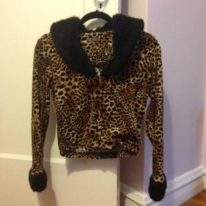 Vintage leopard and faux fur cropped jacket