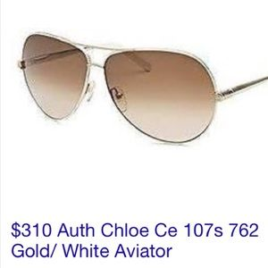 AUTH Chloe Gold/ White Aviator Sunglasses