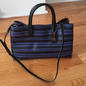 Coach Handbags - Coach Navy Black Striped Studio Tote REDUCED