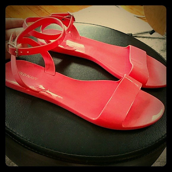 Old Navy Shoes Neon Pink Jelly Ankle Strap Sandals